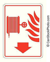 Fire Reel Hose Sign on white background