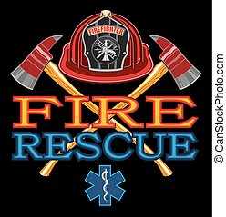 Fire Rescue Design is an illustration of vibrant text that...