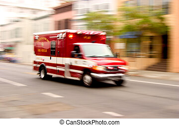 Fire Rescue - A fire rescue vehicle blazes by, it\'s sirens...