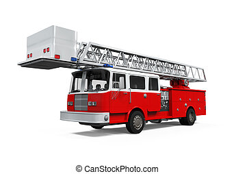Fire Rescue Truck isolated on white background. 3D render