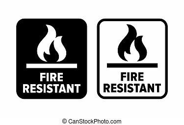 """Fire resistant"" material information sign"