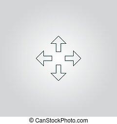 fire, retninger, pile, ikon