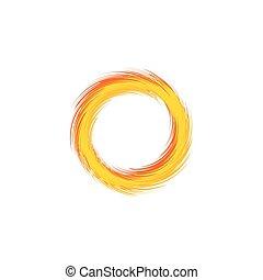 Fire ring. Flaming sun. Vector illustration. Unusual sun logotype.