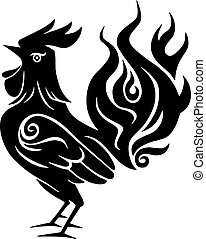 Fire Rooster Chinese New Year Black Symbol 2017