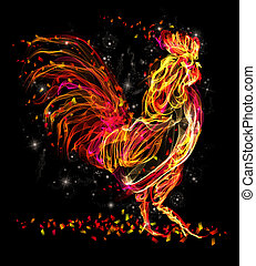 Fire rooster. Flaming animal sparkle cool design - Rooster....