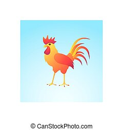 Fire rooster on a blue background.