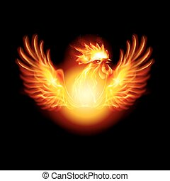 Fire Rooster Symbol of the New Year by Chinese Calendar. Christmas Card