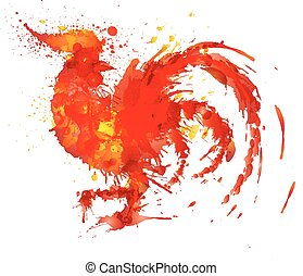 Fire rooster symbol of year 2017 made of colorful grunge splashes