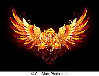 Fire rose with wings