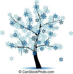 fire, sæson, -, vinter træ
