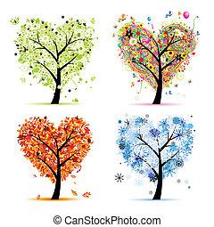 fire sæsoner, -, forår, sommer, efterår, winter., kunst, træ, hjerte form, by, din, konstruktion