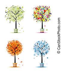 fire sæsoner, -, forår, sommer, efterår, winter., kunst, træer, ind, pots, by, din, konstruktion