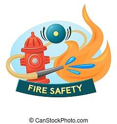 Fire safety concept design, vector illustration