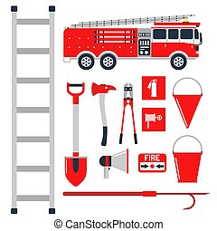 Fire safety equipment emergency tools firefighter safe danger accident protection vector illustration.