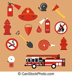 Fire safety, firefighter and protection flat icons - Fire...