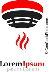 Fire safety logo with smoke detector isolated on white...