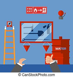 Fire safety measures inspection in office building, emergency security system, vector illustration