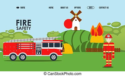 Fire safety online webpage, vector illustration. Fire ...