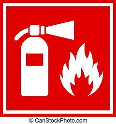 Fire safety red vector banner isolated on white background