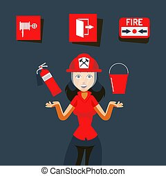 Fire safety sign vector illustration. Image for help during ...