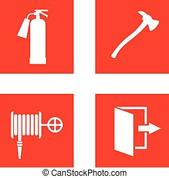 Fire safety sign vector illustration. - Fire equipment signs...