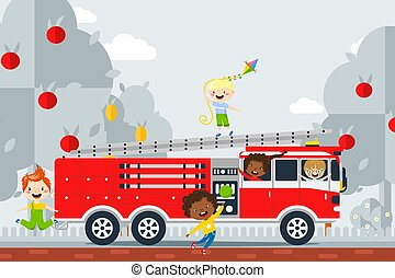 Fire safety study excursion, vector illustration. Children ...