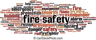 Fire safety word cloud concept. Collage made of words about ...