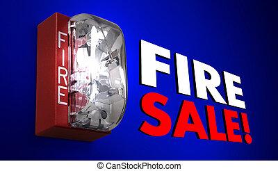 Fire Sale Big Savings Event Clearance Alarm 3d Illustration