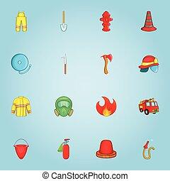 Fire service icons set, cartoon style