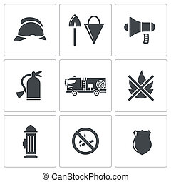 Fire Service icons set