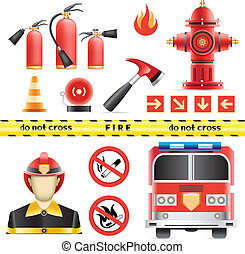 Set of the fire objects isolated on the white background