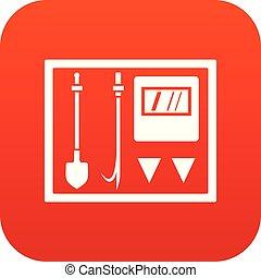 Fire shield icon digital red