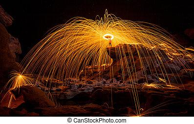 Fire show amazing at night, Sam pan bok, Ubon-ratchathani, North-east of Thailand