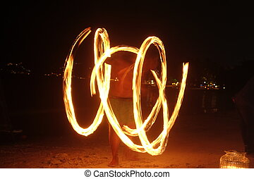 Fire show flame traces