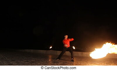 Fire show in the night.