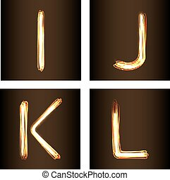 Fire-show style set of letters I, J, K and L