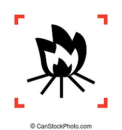 Fire sign. Black icon in focus corners on white background. Isol