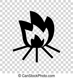 Fire sign. Black icon on transparent background.
