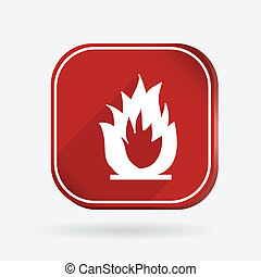 fire sign. Color square icon
