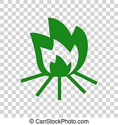 Fire sign. Dark green icon on transparent background.