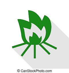 Fire sign. Green icon with flat style shadow path.