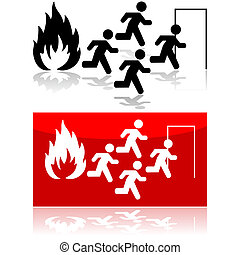 Fire sign - Icon illustration showing people running from a...