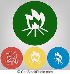 Fire sign. Vector. 4 white styles of icon at 4 colored circles on light gray background.