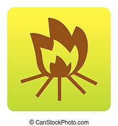 Fire sign. Vector. Brown icon at green-yellow gradient square with rounded corners on white background. Isolated.