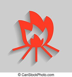 Fire sign. Vector. Red icon with soft shadow on gray background.