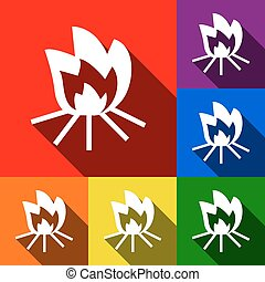 Fire sign. Vector. Set of icons with flat shadows at red, orange, yellow, green, blue and violet background.