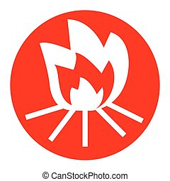 Fire sign. Vector. White icon in red circle on white background. Isolated.