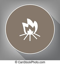 Fire sign. Vector. White icon on brown circle with white contour and long shadow at gray background. Like top view on postament.