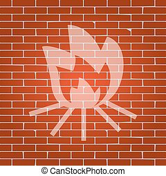 Fire sign. Vector. Whitish icon on brick wall as background.