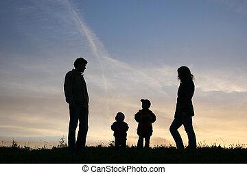 fire, silhuet, familie
